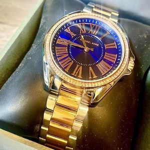 Amazing Michael Kors Blue Kacey Two Tone Sundial Timepiece.